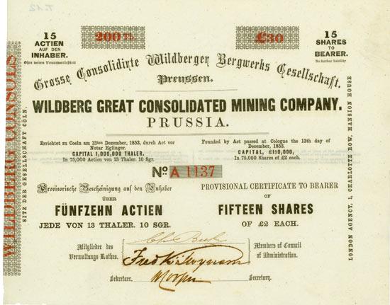 Grosse Consolidirte Wildberger Bergwerks Gesellschaft / Wildberg Great Consolidated Mining Company