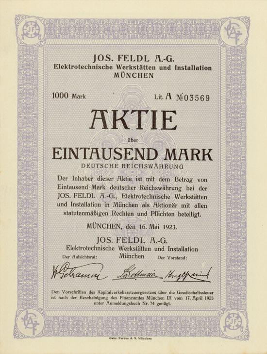 Jos. Feldl AG Elektrotechnische Werkstätten und Installation