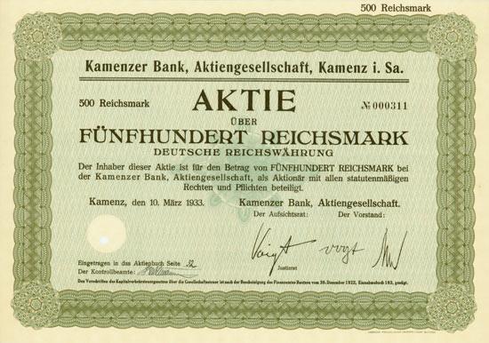 Kamenzer Bank AG