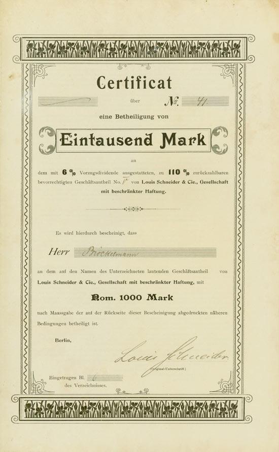 Louis Schneider & Cie. Gesellschaft mit beschränkter Haftung