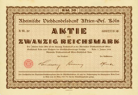 Rheinische Viehhandelsbank AG Köln