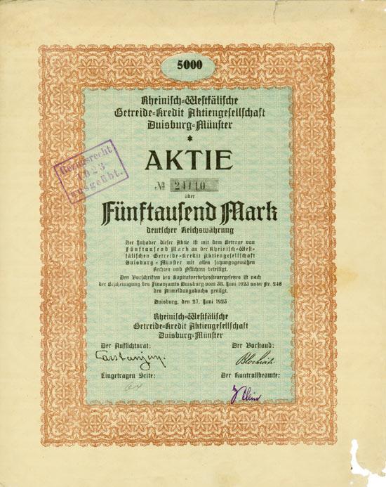 Rheinisch-Westfälische Getreide-Kredit AG