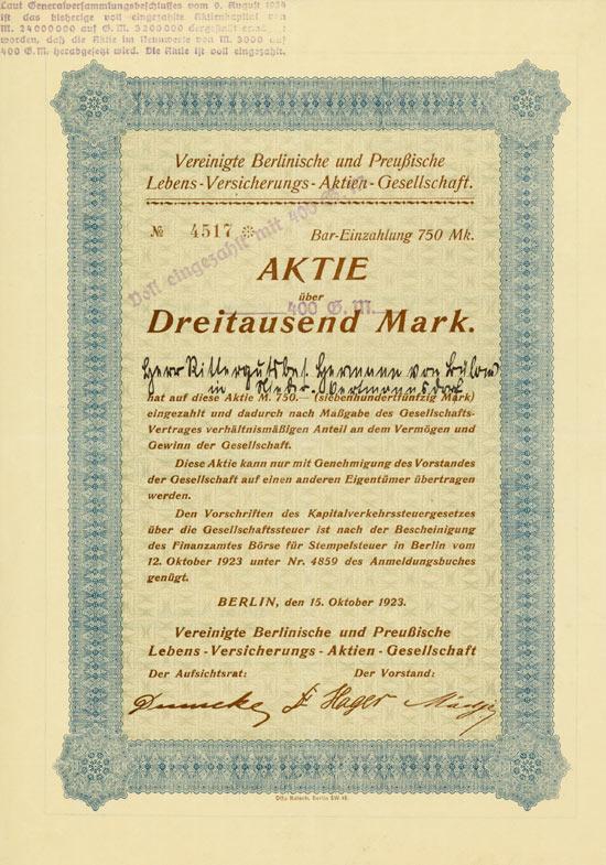 Vereinigte Berlinische und Preußische Lebens-Versicherungs-AG