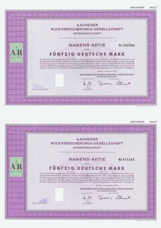 Aachener Rückversicherungs-Gesellschaft [2 Stück]