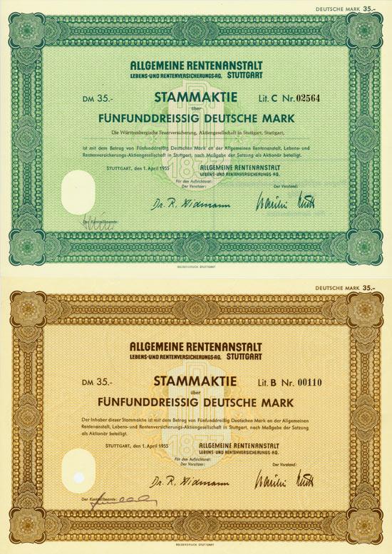 Allgemeine Rentenanstalt Lebens- und Rentenversicherungs-AG [3 Stück]