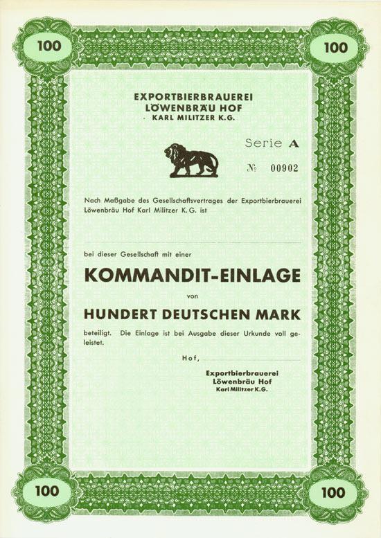 Exportbierbrauerei Löwenbräu Hof Karl Militzer K.G.
