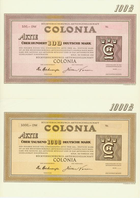 Rückversicherungs-Aktiengesellschaft Colonia [2 Stück]