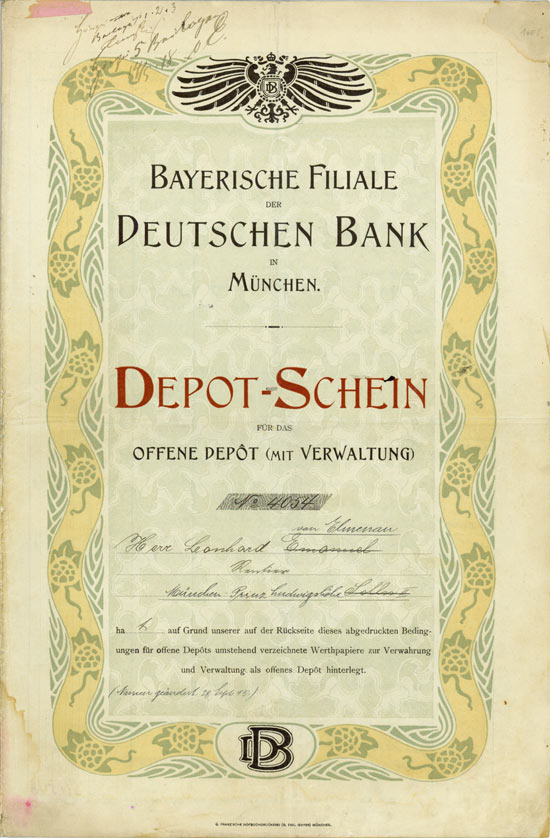 Hwph ag historische wertpapiere deutsche bank for Depot kolbermoor