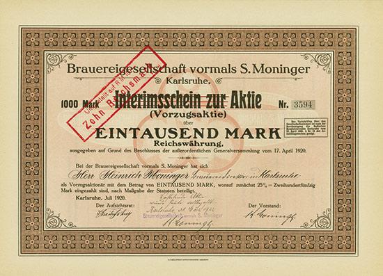 Brauereigesellschaft vormals S. Moninger