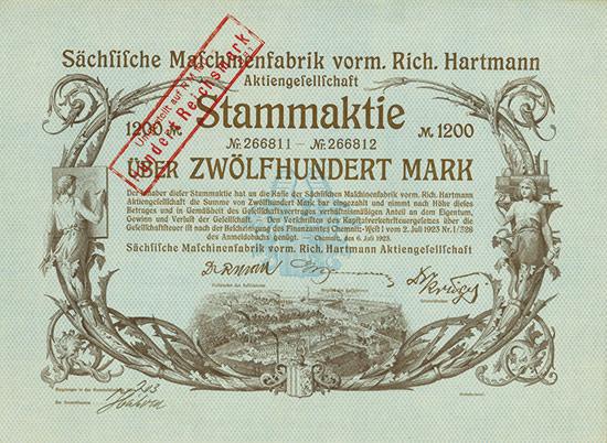 Sächsische Maschinenfabrik vorm. Rich. Hartmann AG [2 Stück]