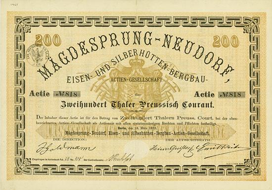 Mägdesprung-Neudorf, Eisen- und Silberhütten-Bergbau-AG