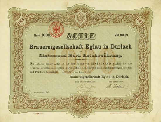 Brauereigesellschaft Eglau in Durlach