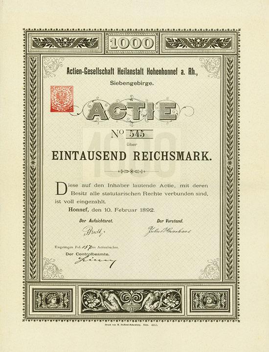 Actien-Gesellschaft Heilanstalt Hohenhonnef a. Rh., Siebengebirge