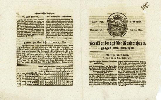 Mecklenburgische Nachrichten, Fragen und Anzeigen