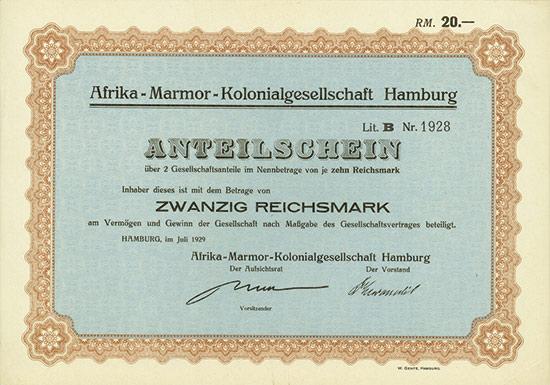 Afrika-Marmor-Kolonialgesellschaft Hamburg