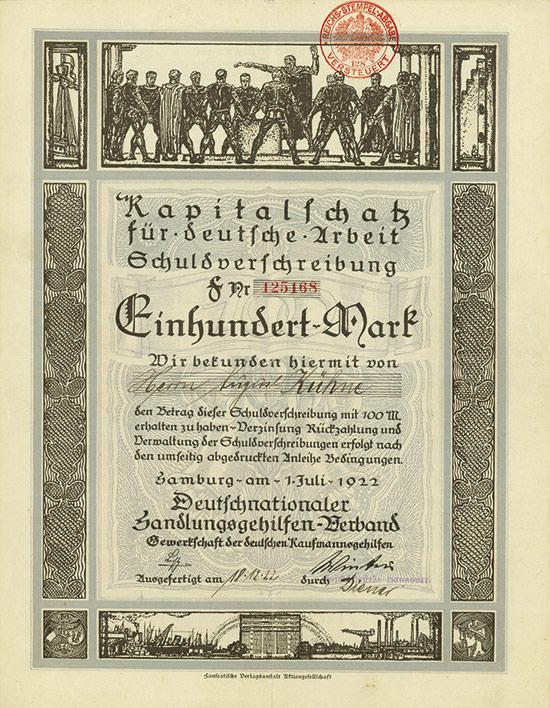 Deutschnationaler Handlungsgehilfen-Verband, Kapitalschatz für deutsche Arbeit