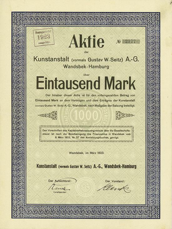 Kunstanstalt (vormals Gustav W. Seitz) AG