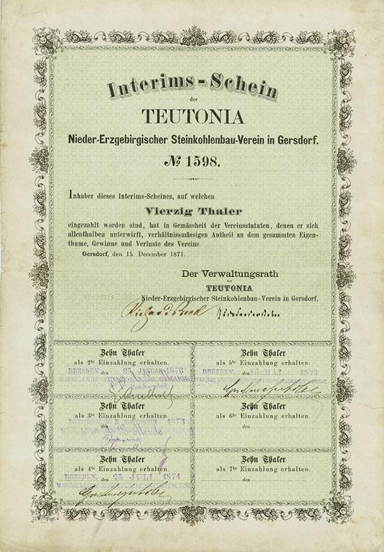 Teutonia Nieder-Erzgebirgischer Steinkohlenbau-Verein in Gersdorf
