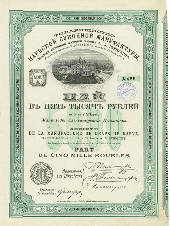 Société de la Manufacture de Draps de Narva ci-devant fabrique de draps du baron A. L. Stieglitz