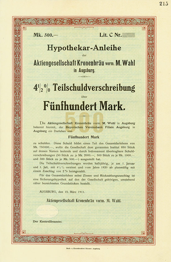 Aktiengesellschaft Kronenbräu vorm. M. Wahl
