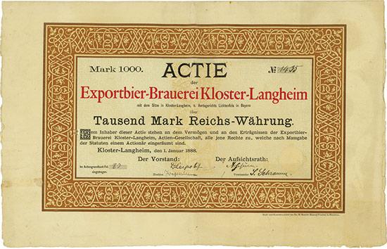 Exportbier-Brauerei Kloster-Langheim