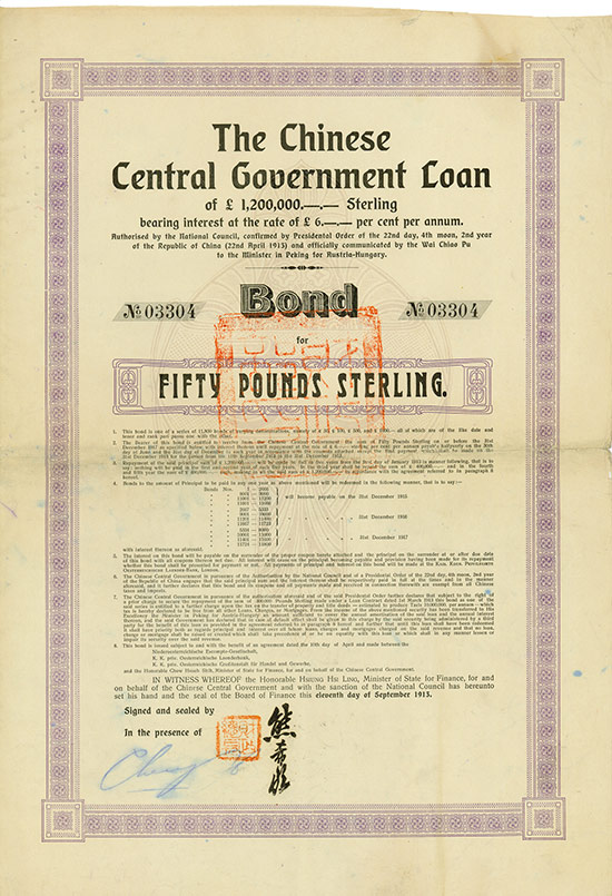 Chinese Central Government Loan - Austrian Loan I [Kuhlmann 310 A]