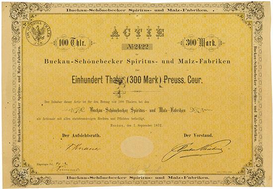 Buckau-Schönebecker Spiritus- und Malz-Fabriken