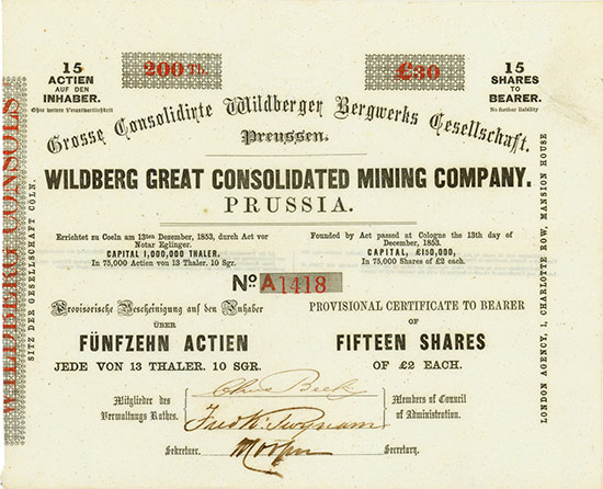 Grosse Consolidirte Wildberger Bergwerks Gesellschaft / Wildberg Great Consolidated Mining Company