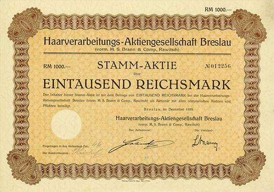 Haarverarbeitungs-Aktiengesellschaft Breslau (vorm. M. S. Brann & Comp., Rawitsch)