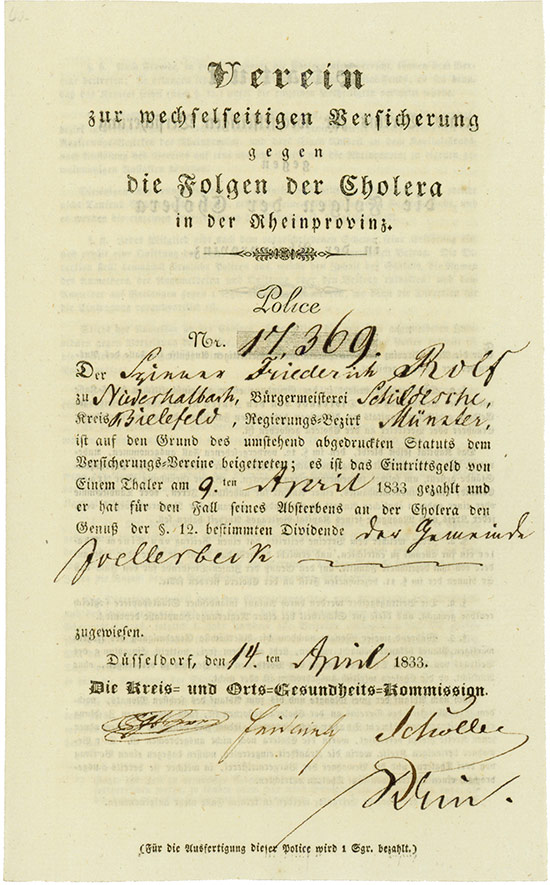 Verein zur wechselseitigen Versicherung gegen die Folgen der Cholera in der Rheinprovinz