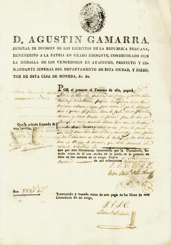 Republic Peru - D. Augustin Gamarra
