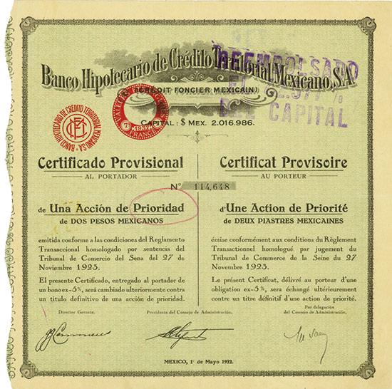 Banco Hipotecario de Crédito Territorial Mexicano, S. A. (Crédit Foncier Mexicain)
