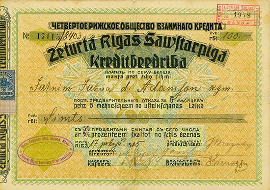 Zeturtá Rigas Sawftarpigá Kreditbeedriba / Vierte Rigaer Gesellschaft für gegenseitigen Kredit
