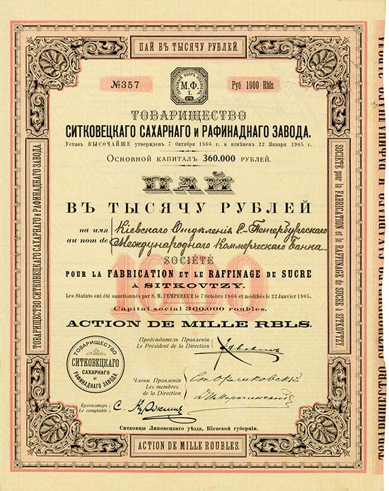 Société pour la Fabrication et le Raffinage de Sucre à Sitkovtzy