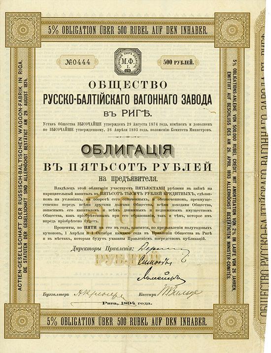 Actien-Gesellschaft der Russisch-Baltischen Waggon-Fabrik in Riga