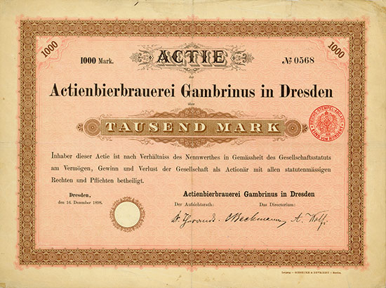 Actienbierbrauerei Gambrinus in Dresden