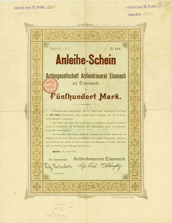 Actiengesellschaft Actienbrauerei Eisenach zu Eisenach