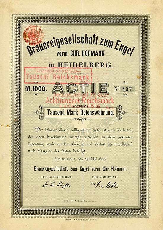 Brauereigesellschaft zum Engel vorm. Chr. Hofmann in Heidelberg