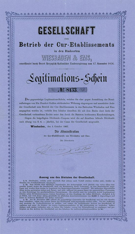 Gesellschaft zum Betrieb der Cur-Etablissements in den Badeorten Wiesbaden & Ems