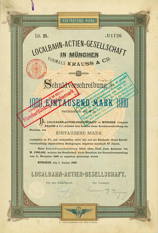 Localbahn-Actien-Gesellschaft in München vormals Krauss & Co.