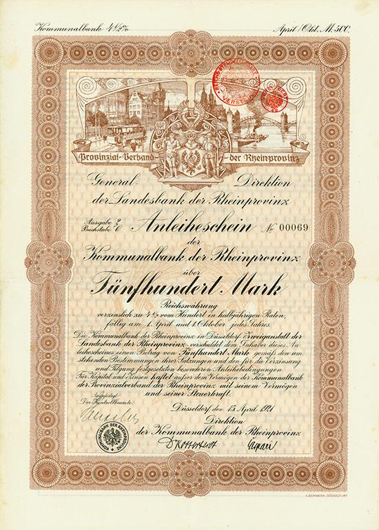 Provinzialverband der Rheinprovinz / Kommunalbank der Rheinprovinz