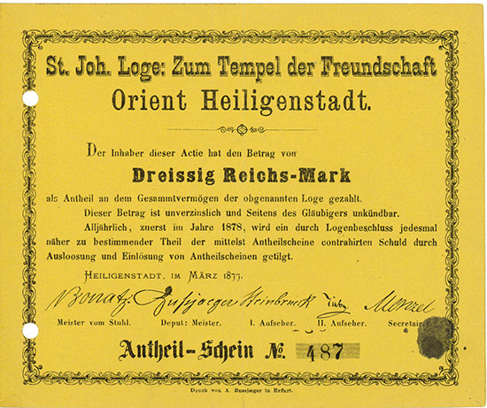 St. Joh. Loge: Zum Tempel der Freundschaft Orient Heiligenstadt