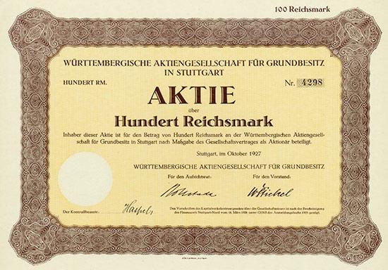 Württembergische Aktiengesellschaft für Grundbesitz in Suttgart