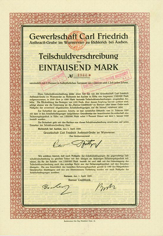 Gewerkschaft Carl Friedrich Anthracit-Grube im Wurmrevier Richterich bei Aachen