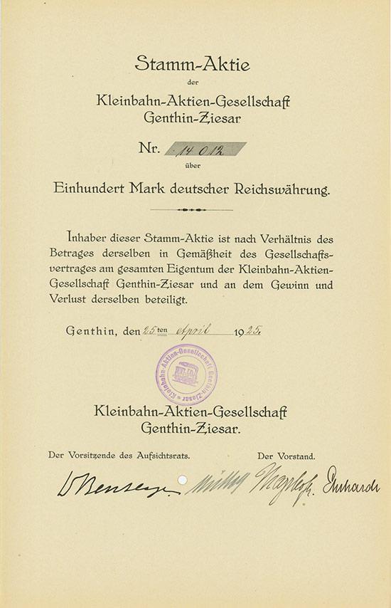 Kleinbahn-Aktien-Gesellschaft Genthin-Ziesar