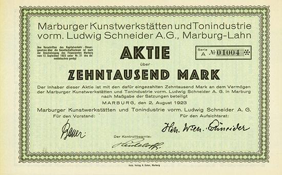 Marburger Kunstwerkstätten und Tonindustrie vorm. Ludwig Schneider AG