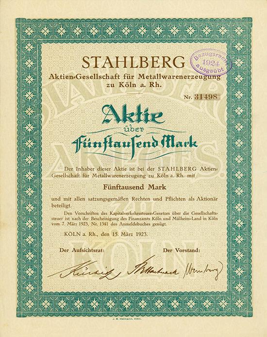 Stahlberg Aktien-Gesellschaft für Metallwarenerzeugung zu Köln a. Rhein