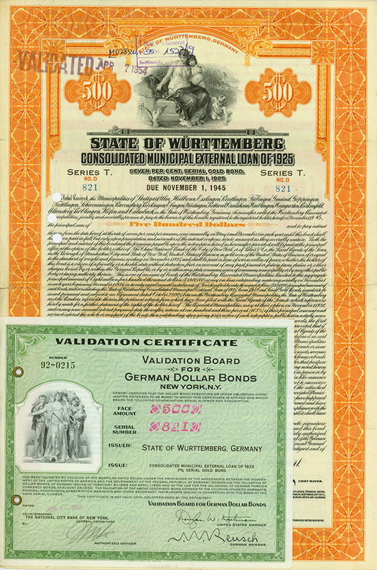 State of Württemberg (Consolidated Municipal External Loan of 1925)