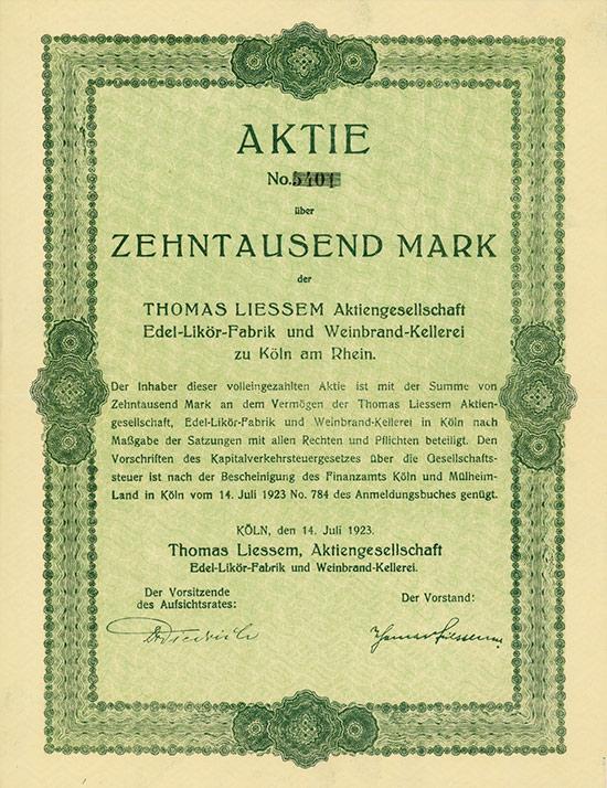 Thomas Liessem Aktiengesellschaft Edel-Likör-Fabrik und Weinbrand-Kellerei