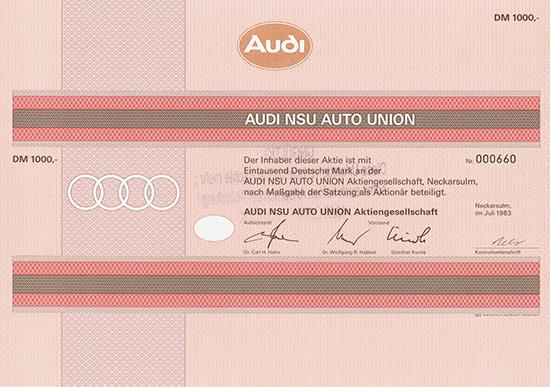Hwph Ag Historische Wertpapiere Audi Nsu Auto Union Ag